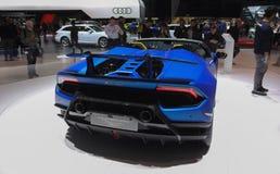 La Svizzera; Ginevra; 8 marzo 2018; La perforazione di Lamborghini Huracan fotografia stock