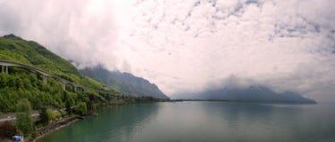 La Svizzera, Montreux, vista panoramica del gene del lago Fotografie Stock Libere da Diritti
