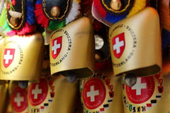 La Svizzera, ricordo, campana del ` s della mucca, campana del bestiame Fotografia Stock Libera da Diritti