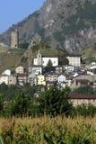 La Svizzera, Valais, città di Saillon Fotografie Stock Libere da Diritti