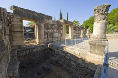 La synagogue de Capernaum Images libres de droits