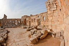 La Syrie - église de rue Simeon - Qal'a Sim'an Images stock