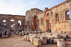La Syrie - église de rue Simeon - Qal'a Sim'an Image stock