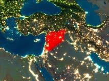 La Syrie en rouge la nuit Photographie stock libre de droits