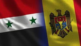 La Syrie et Moldau - drapeau deux ensemble - texture de tissu illustration de vecteur
