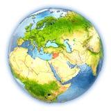 La Syrie sur le globe d'isolement illustration libre de droits