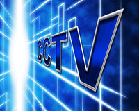 La télévision en circuit fermé de surveillance représente la caméra de sécurité et la prévention Photographie stock libre de droits