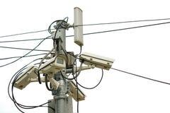 La télévision en circuit fermé pour la protection ou la sécurité a placé sur la rue image stock