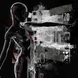 La tête d'un cyborg sur un fond noir illustration 3D Photos stock