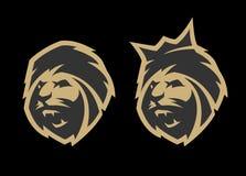 La tête d'un lion, avec une couronne et sans, deux options Image libre de droits