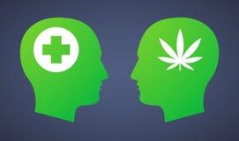 La tête a placé avec une feuille de marijuana et un signe de pharmacie illustration libre de droits