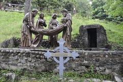 La 14ta estación de la cruz con Jesús de Sainte Anne de Baupre Sanctuary de Quebec Foto de archivo libre de regalías