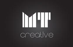 La TA M T Letter Logo Design With White et lignes noires Image libre de droits