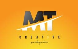 La TA M T Letter Modern Logo Design avec le fond jaune et le Swoo illustration stock