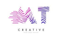 La TA M T Zebra Lines Letter Logo Design avec des couleurs magenta Image libre de droits