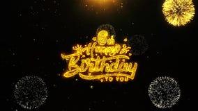 la 6ta tarjeta de felicitaciones de los deseos del feliz cumpleaños, invitación, fuego artificial de la celebración colocó libre illustration