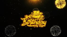 la 25ta tarjeta de felicitaciones de los deseos del feliz cumpleaños, invitación, fuego artificial de la celebración colocó