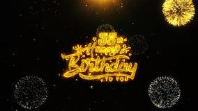 la 35ta tarjeta de felicitaciones de los deseos del feliz cumpleaños, invitación, fuego artificial de la celebración colocó ilustración del vector