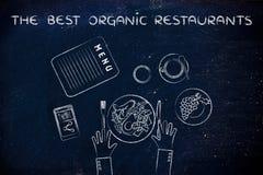 La Tabella con alimento sano e manda un sms ai migliori ristoranti organici (f Immagine Stock Libera da Diritti