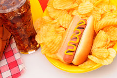 La Tabella di picnic del primo piano con il hot dog scheggia la soda Fotografie Stock Libere da Diritti