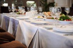 La Tabella ha impostato per un partito o una cerimonia nuziale di evento Immagini Stock