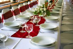 La Tabella ha impostato per un partito o una cerimonia nuziale di evento Fotografia Stock