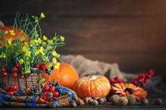 La tabla adornada con las flores y las verduras Día feliz de la acción de gracias Fondo del otoño Imagen de archivo libre de regalías