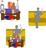 La tabla con las bebidas y el hombre en el sofá bebe el alcohol libre illustration