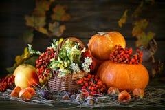 La tabla de madera adornó salvaje con las flores por las calabazas y las hojas de otoño Fondo del otoño Día feliz de la acción de Imagen de archivo