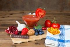 Antioxidantes en la tabla imagen de archivo libre de regalías