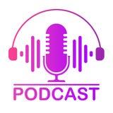 La tabla hecha un podcast del estudio del color del icono es un micrófono con símbolos de la onda de la onda acústica Logotipo de libre illustration