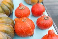 La table avec les potirons oranges Concept de chute de symbole d'amour Photographie stock