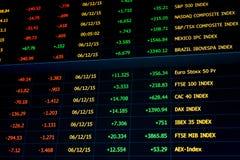 La table de données financières, capitaux propres indexe la représentation et les prix Image stock