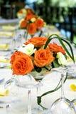 La table de fantaisie a placé pour un mariage Photo libre de droits