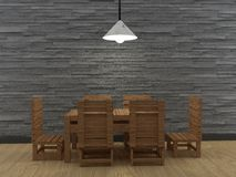 La table de salle à manger et la chaise intérieures dans 3D en bois rendent l'image Images stock