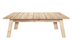 La table en bois de Brown est fond blanc d'isolement Image libre de droits