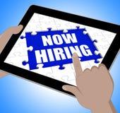 La tableta ahora de alquiler significa a Job Vacancy And Recruitment Imagen de archivo
