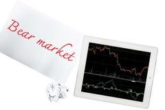 La tableta con el gráfico y el papel con el mercado bajista se aísla en tran Imagen de archivo