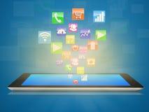 La tableta con el uso surge Imagen de archivo libre de regalías