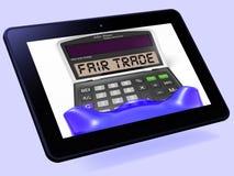 La tableta de la calculadora del comercio justo muestra productos éticos y la compra ilustración del vector