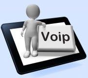 La tableta del botón de Voip con el carácter significa voz sobre Internet favorable ilustración del vector