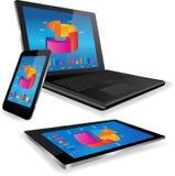La tableta y Smart del ordenador portátil llaman por teléfono con el gráfico de negocio Fotografía de archivo libre de regalías