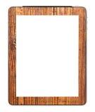 La tablette blanc de PC a conçu avec le support en bois Images libres de droits
