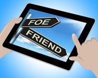 La Tablette d'ami d'ennemi signifie l'ennemi ou l'allié illustration stock