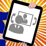 La Tablette de Voip montre la voix au-dessus de l'illustration 3d à bande large Image libre de droits