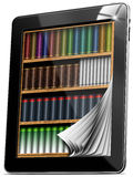 La tablette pagine la bibliothèque Photographie stock