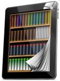 La tablilla pagina el estante para libros Fotografía de archivo