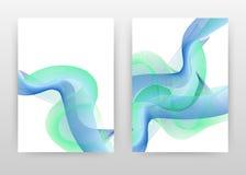 La tache floue verte a ondulé des lignes texture sur la conception blanche pour le rapport annuel, brochure, insecte, affiche Lig illustration de vecteur