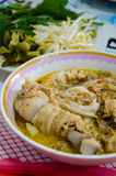 La tagliatella o kanomjeen con il pollo Fotografia Stock