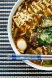 La tagliatella tailandese della carne di maiale con minestra ha chiamato Boat Noodle Immagine Stock Libera da Diritti